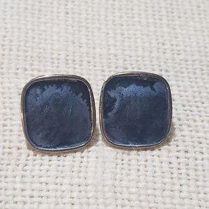 Square Blue Marked Earrings for Pierced Ears
